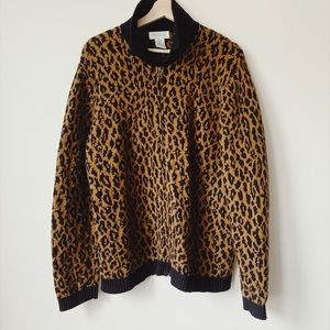 Cheetah zip up sweater